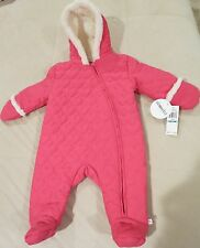 NWT ABSORBA 6-9 MO. HOT PINK HEART QUILTED ONE PIECE/BABY COAT W/HAND COVERS