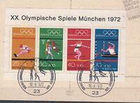 """Brd Block 8 Sonderstempel Kiel   """"XX.Olympische Spiele München 1972"""""""