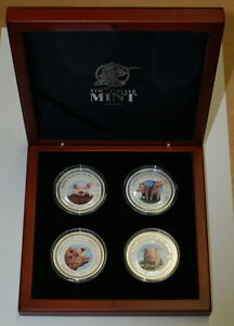 Cambodia 2007 Lunar Year of the Pig - Four Coin Set 4 OZ Pure .999 Silver RARE