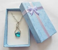 Love Heart in a Bottle Necklace Jewellery Sky Blue Stone Brand New & Boxed