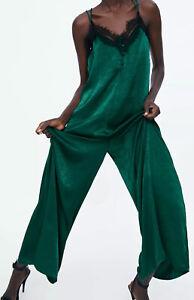 Bnwt Zara Lace Trimmed Satin Jumpsuit Size M Bloggers Fave