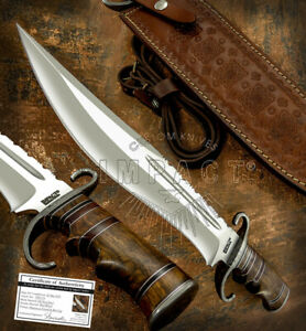 IMPACT CUTLERY RARE CUSTOM D2 LARGE FULLER COMBAT BOWIE KNIFE BURL WOOD HANDLE