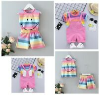 Newborn Baby Girls Rainbow Outfits Striped T-Shirt Tops + Shorts Summer Clothes