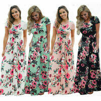 UK Womens Draped Elastic Wasit Holiday Prom Pleated Party Maxi Ladies Long Dress