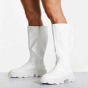 Women Punk Riding Platform Shoes Round Toe Chunky Heels Mid Calf Knee High Boots