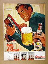 1964 Falstaff Beer man ice skates bottle mug art vintage print Ad