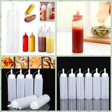 6x Clear Plastic 8oz Squeeze Bottle Condiment Dispenser Ketchup Mustard Sauce