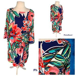 Ladies Multicoloured Dress Size 16 M&S COLLECTION 3/4 Bell Sleeves Smart Belt 🌹