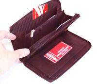 RFID Blocking Leather Checkbook Women's Clutch Wallet Secretary Organizer
