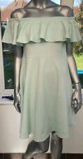 Off Shoulder Curve Dress Size 20 Dolly Diva Plus Size Crepe Skater Mint DO56