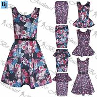 Womens Skater Dress New Ladies Midi Bodycon Floral Frill Skirt Pencil Peplum Top