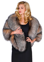Womens Crystal Fox Fur Cape Wrap Stole Plus Size