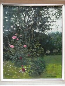 A Rose Garden, Beautiful Oil by Stuart Ray 1962. Listed.