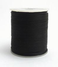 100m Baumwollband schwarz 1,5mm geflochten rund poliert gewachst auf Rolle