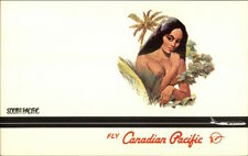 Canadian Pacific Airlines South Pacific Nude Island Girl Postcard spg