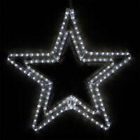 LED Cool White Double Christmas Lighted Star Outdoor Decoration Display 24""
