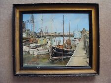 Vintage Oil Painting On Canvas Of Harbour Scene With Boats