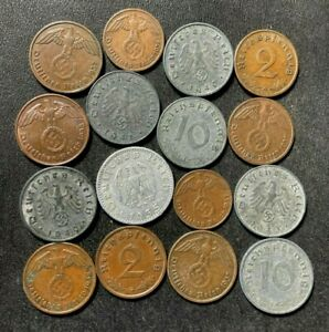 OLD NAZI Germany Coin Lot - 1935-1941 - 16 Excellent Coins - Lot #M1