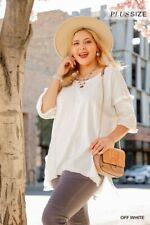 Umgee White High Low Fringed Hems Tunic Top Plus Size