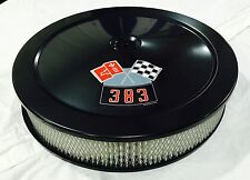 """BLACK CHEVROLET AIR CLEANER 14"""" ROUND 4 BBL WHITE FILTER 383 DECAL NEW"""