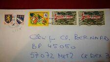 5 timbres oblitérés sur lettre , blasons , France 98, incroyable et merveilleuse