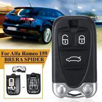 3 Buttons Remote Key Fob Shell Case For Alfa Romeo 159 BRERA SPIDER Black New
