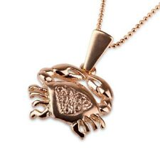 Gold Cancer pendant + 14k chain , Astrology Horoscope ! Gift Jewelry & Love