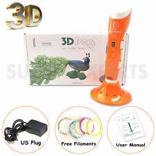Orange 3D Printer Pen Drawing Stereoscopic + 6 PLA Filaments - Gift Set