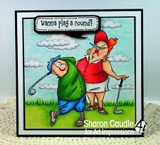 Jimmy Golfer 2 pc (U get photo #2) L@@K@ examples Art Impressions Rubber Stamps