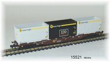 15521   Minitrix -  vierachsiger Container-Tragwagen Bauart Sgnss der ÖBB Neu