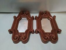 L-1 Vtg Mid Century Pair Copper Colored Home Deco Plastic Wall Hanging Mirrors