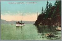 Postcard Lake Tahoe CA Rubicon Point steam boats in the water near shore