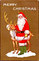 Whitney Christmas~SANTA HOLDS REINDEER LOVINGLY~GOLD EMBOSSED Vintage Postcard