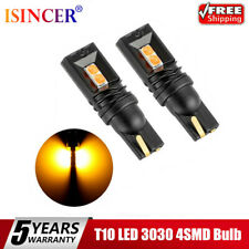 Pair T10 LED 3030 4SMD Bulb Yellow W5W 168 194 Super Bright Car Wedge Side Light