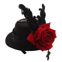 1PC Vintage Mini Top Hat Hair Clip Lolita Girl Steampunk Floral Lace Headwear