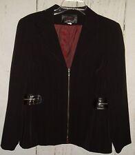 VEX Collection Womens Jacket Blazer Black Pinstripe Zipper Trim Sz 40