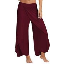 Women Lady Palazzo Flare Wide Leg High Waist Pants Leggings Casual Long Trousers