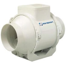 """Monsoon UMD100T 4"""" en línea Flujo Mixto Ventilador Extractor Con Temporizador"""