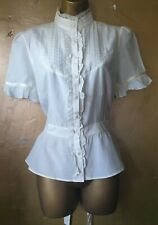 New Look size 12 off white/cream lace&frill design high neck waist length blouse