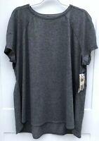 Avia Women's Size XXXL (22) NWT Dark Gray Short Sleeve Performance Tee Shirt
