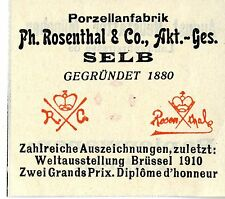 PORZELLANFABRIK Ph. Rosenthal & Co. A.G. Selb Trademark 1912