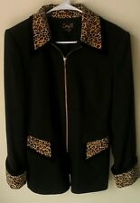 Corey B Coat * 6 * Black with Cheetah Velvet Trim