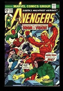 Avengers #134  VF/NM (9.0) OWW  Marvel Comics 1975 (vol 1) Iron Man Thor Vision
