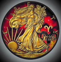 2018 American Silver Eagle Zodiac  ARIES Coin Colored, Gold & Ruthenium Plated