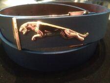 mens dark blue leather pu belt with gold jaguar buckle strap all handmade