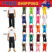 Men's Thai Fisherman Pants Toray Rayon Yoga Trousers Free Size Boho Long and 3/4