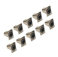 NEW 10 pack XLR female jack 3-pin microphone cable panel chassis mount connector