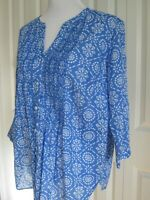 WOMENS TALBOTS PLUS SZ 1X PETITE BLOUSE TOP BLUE WHITE LIGHTWEIGHT 3/4 SLEEVE