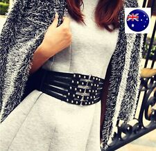 Lady Women Retro Black Synth leather Rivet Wide Waist Corset Elastic band Belt