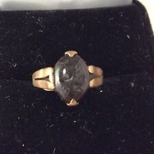 10K Gold  CARVED STONE WARRIOR CAMEO RING Size 5 3/4